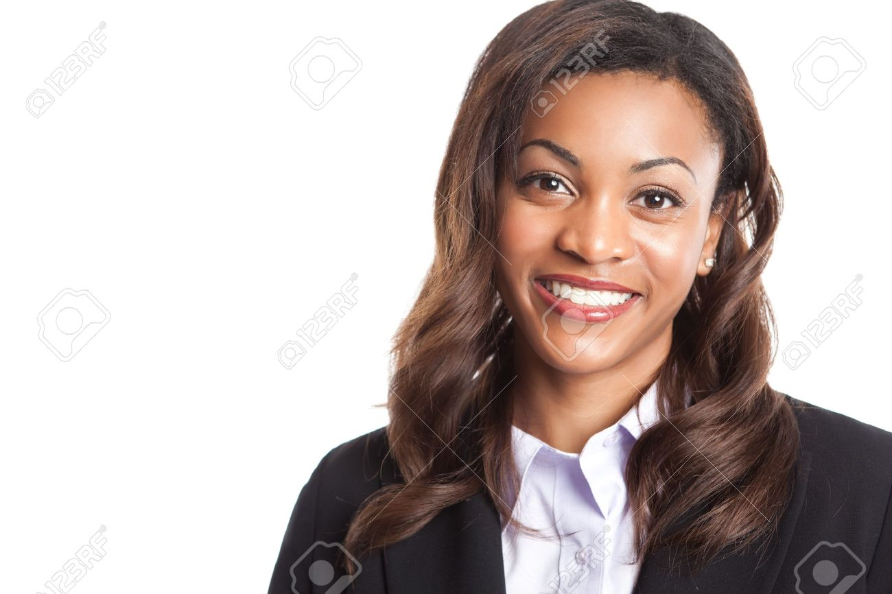 An isolated shot of a happy black businesswoman - 7773615
