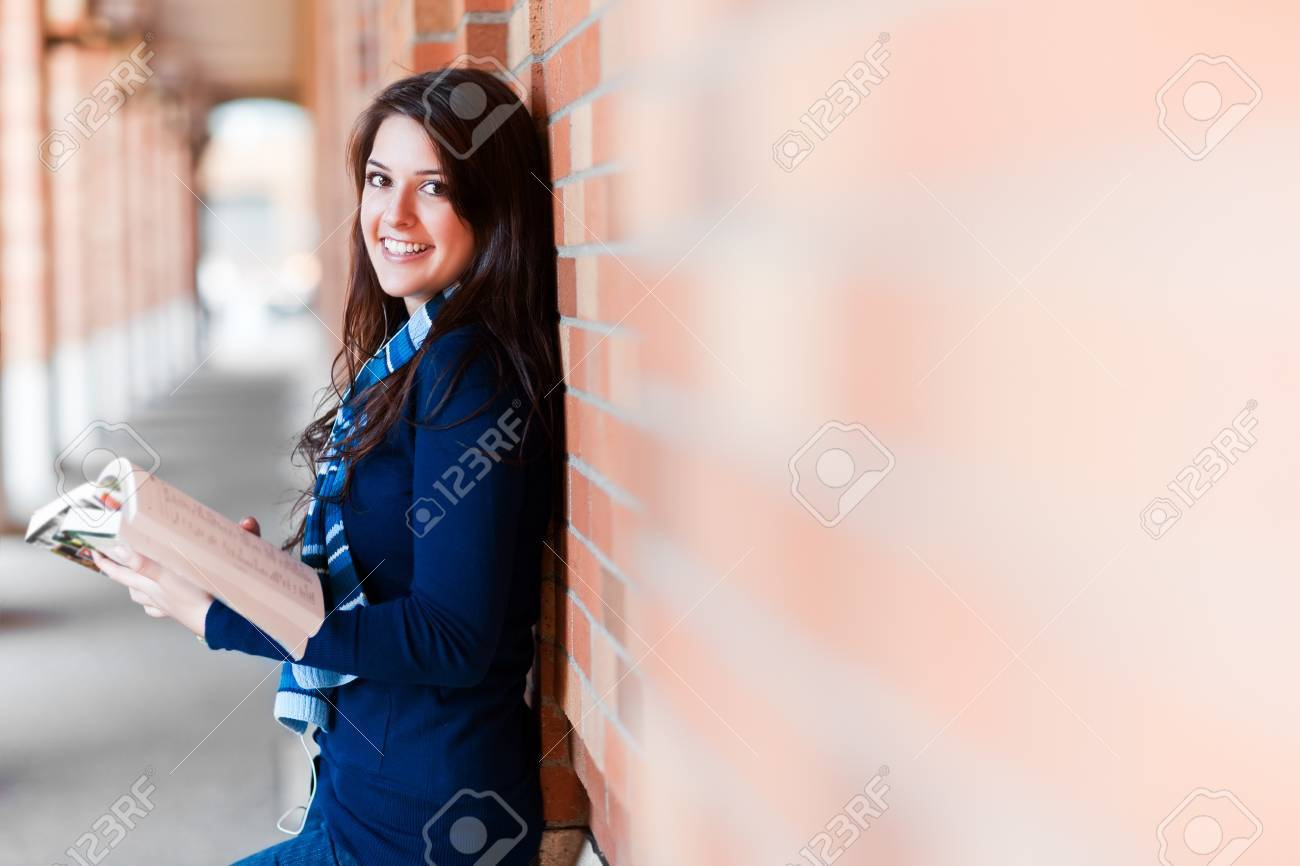 A portrait of a mixed race college student at campus Stock Photo - 8135755