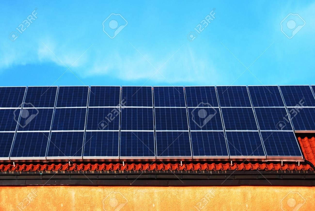 Solar energy panels on a school roof Stock Photo - 4545464