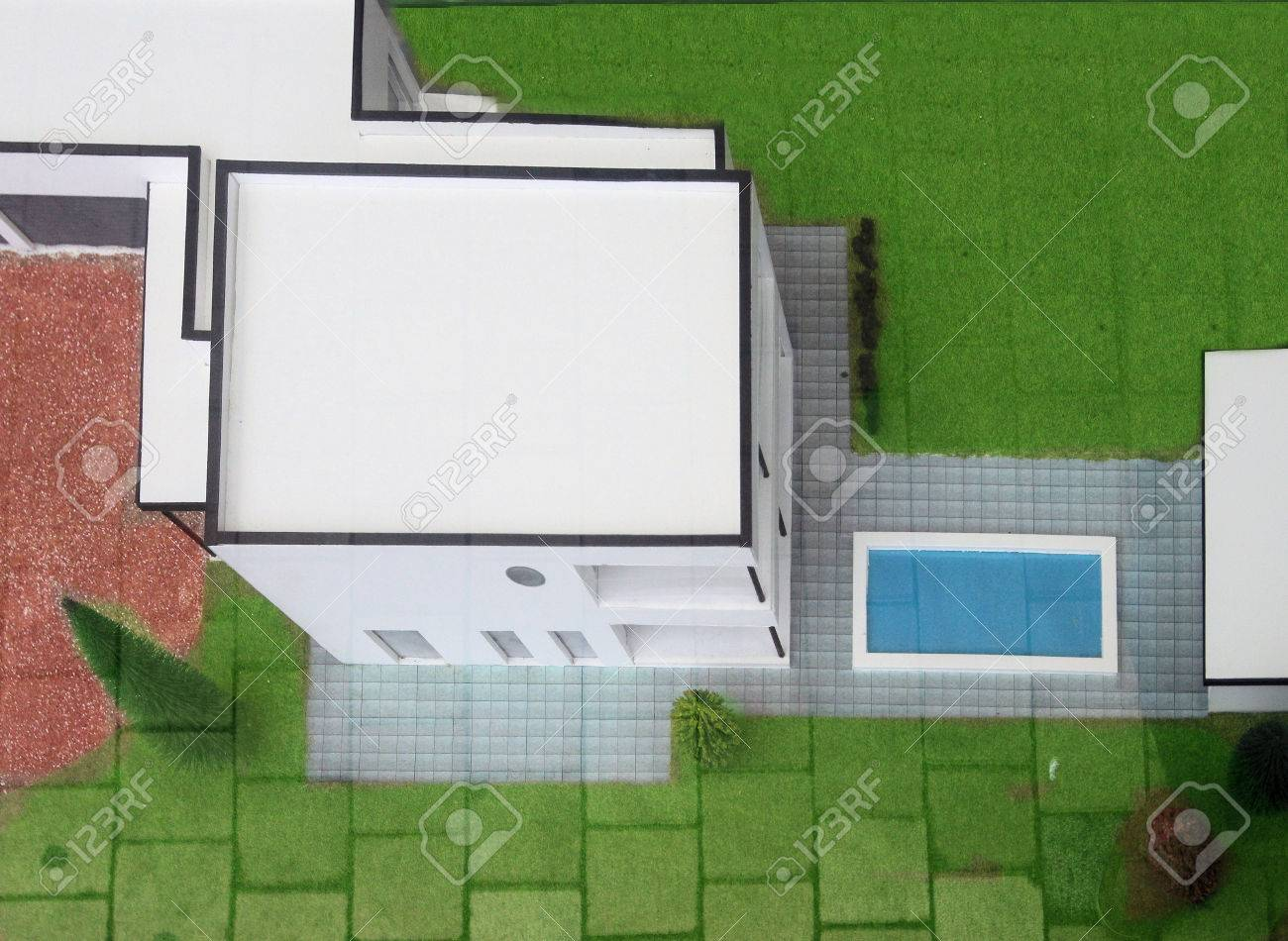 aerial view on a bungalow model with swimming pool stock photo 35082034