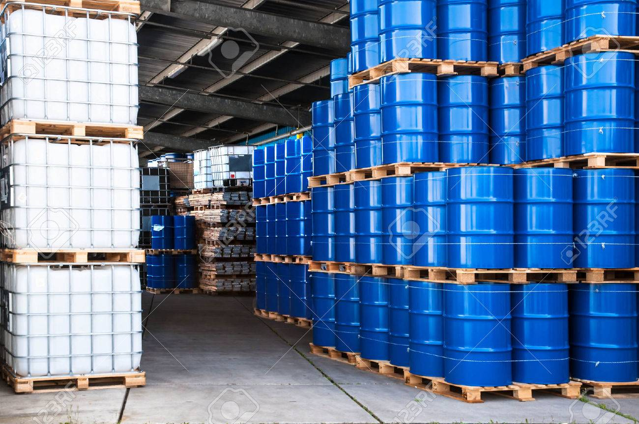 Blue Drums And Ibc Container In A Storage Room Stock Photo Picture