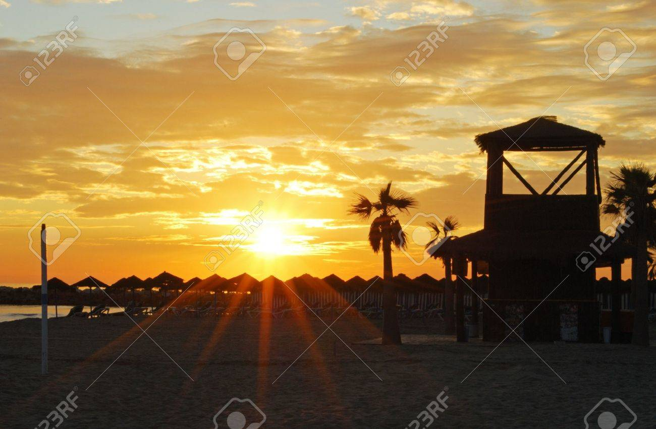 Beach with watchtower at sunset, Puerto Cabopino, Marbella, Costa del Sol, Malaga Province, Andalusia, Spain, Western Europe Stock Photo - 15272455
