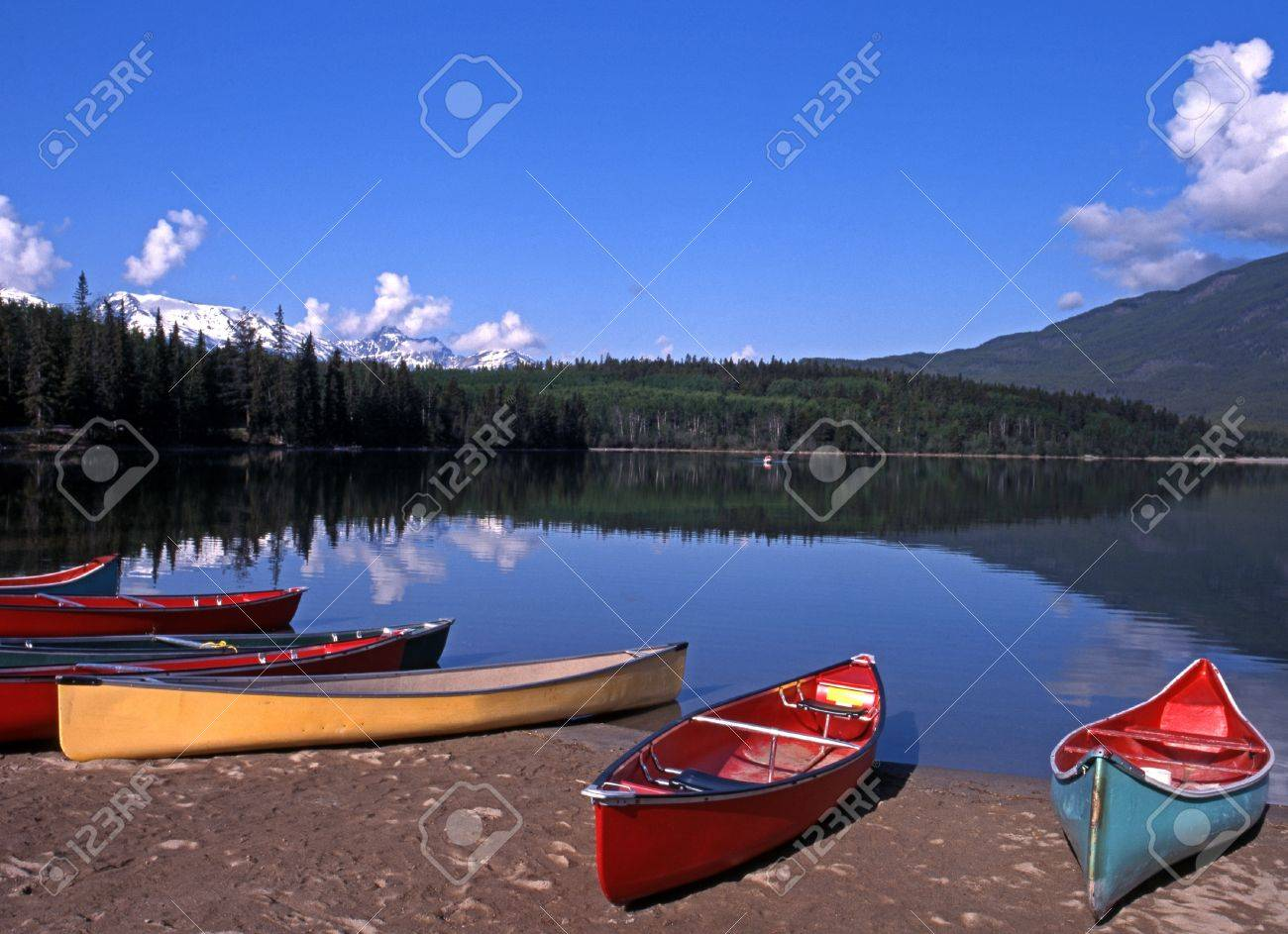 Canoes on the edge of Pyramid Lake, Jasper National Park, Alberta, Canada Stock Photo - 15468968
