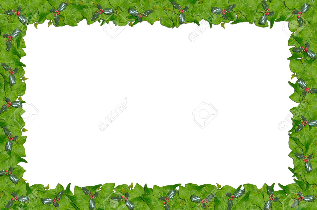 christmas holly and ivy page border stock photo picture and