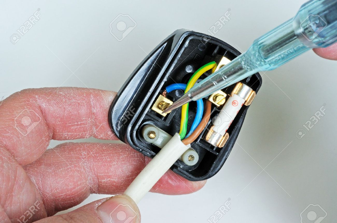 Man Wiring English 3 Pin 13 Amp Plug - Inserting Neutral Wire ...