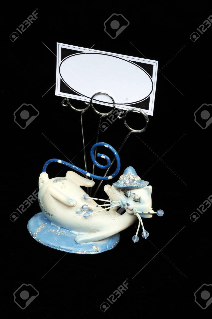Blue And White Cat Ornament With Business Card Holders Against ...