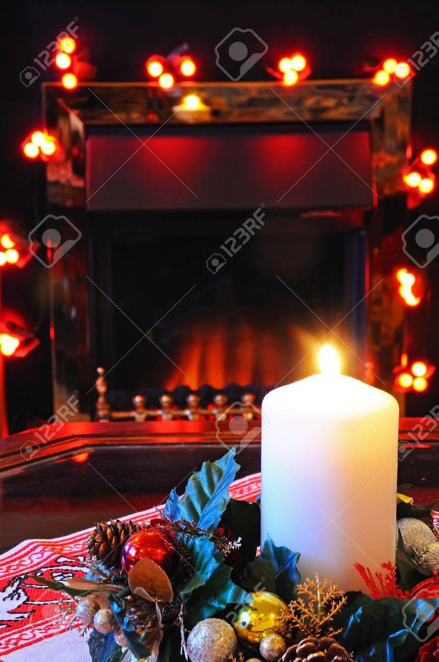 England Christmas Decorations.Coal Effect Electric Fire With Christmas Decorations England
