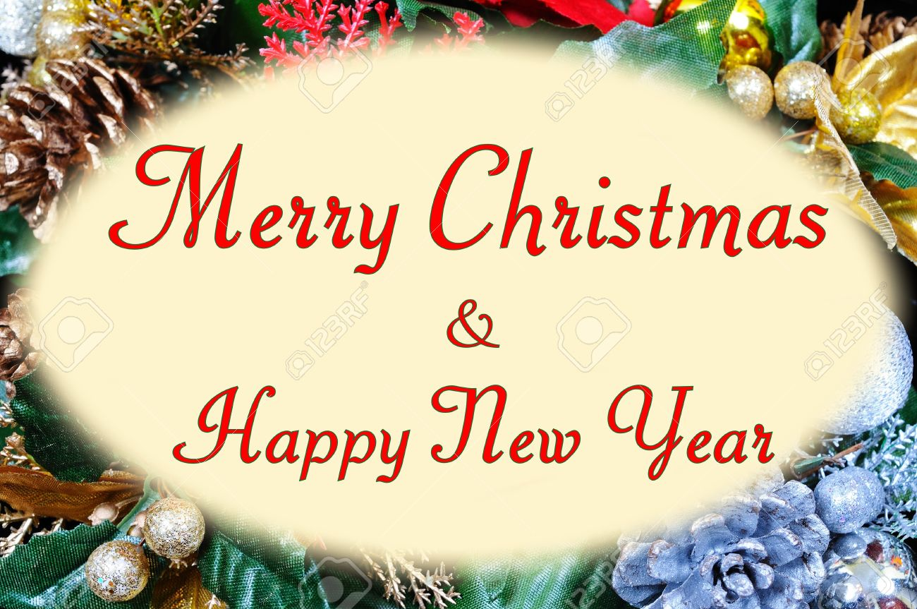 Merry Christmas And Happy New Year Message In An Oval Frame Set ...