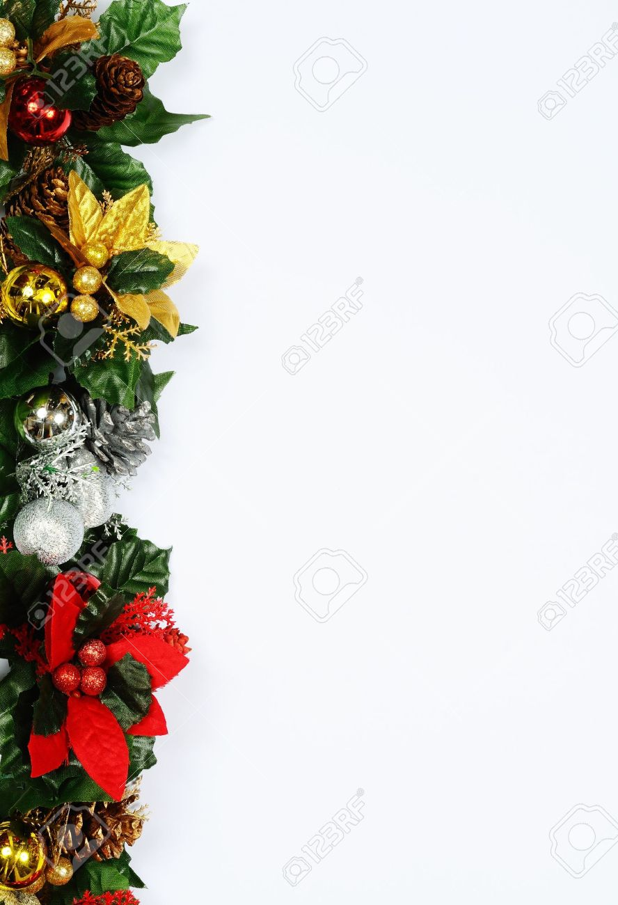 Christmas floral decoration edge on a white background Stock Photo - 21592322