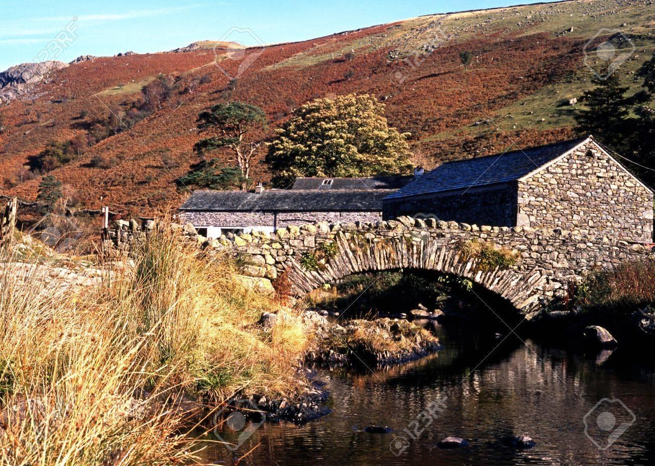 Stone bridge over stream, Watendlath, Lake District, Cumbria, England, UK, Western Europe Stock Photo - 24361846