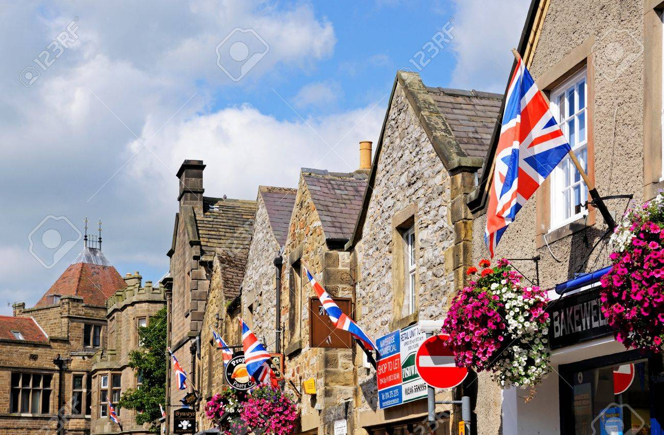 bakewell uk september 7 2014 row of british flags on shop
