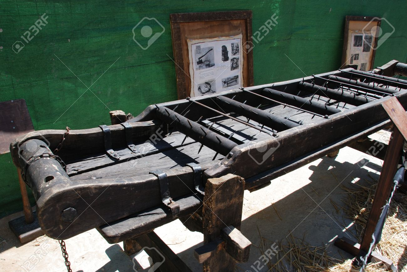 f545d3b93 Medieval torture rack with spikes at the Medieval market, Barbate, Cadiz  Province, Andalusia