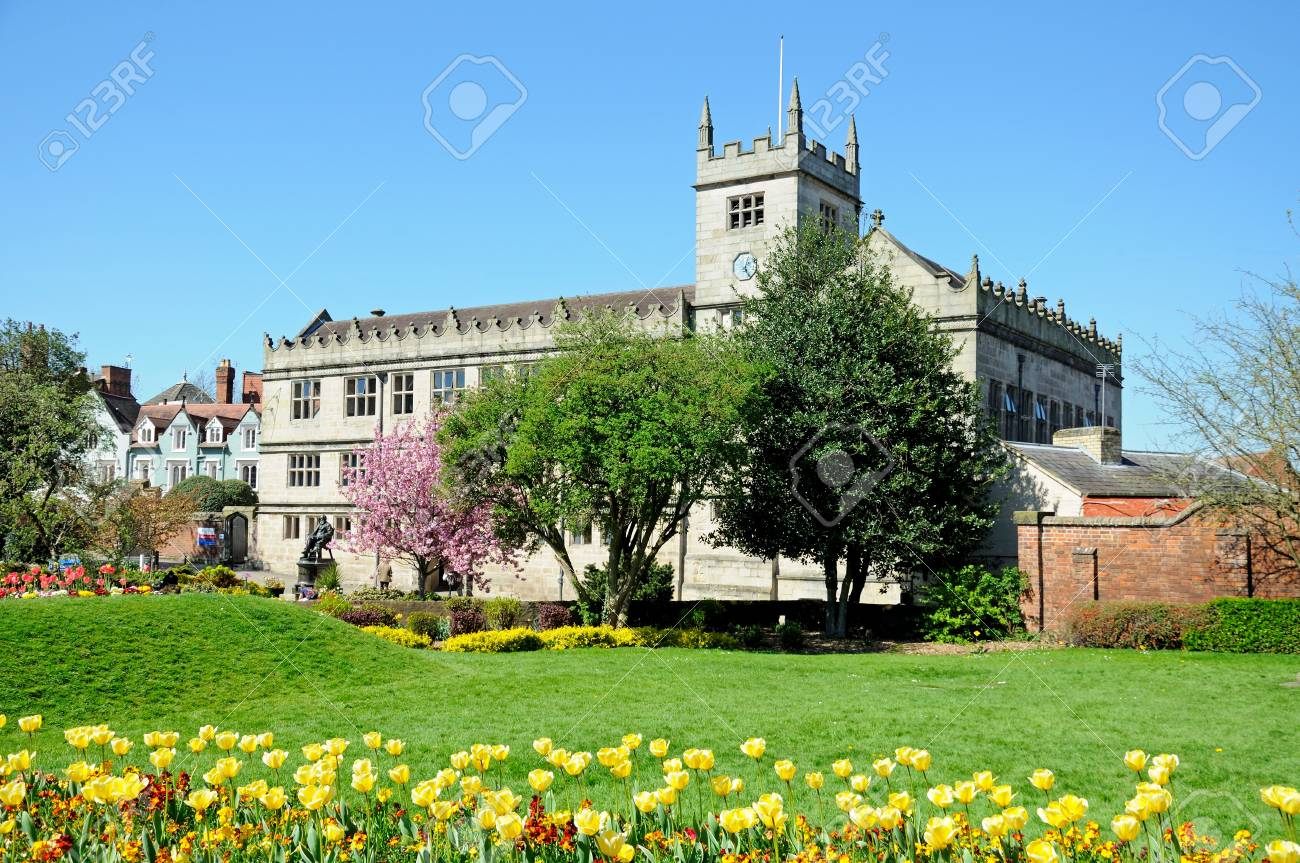 Castle Gate Library With Spring Flowers In The Foreground Shrewsbury