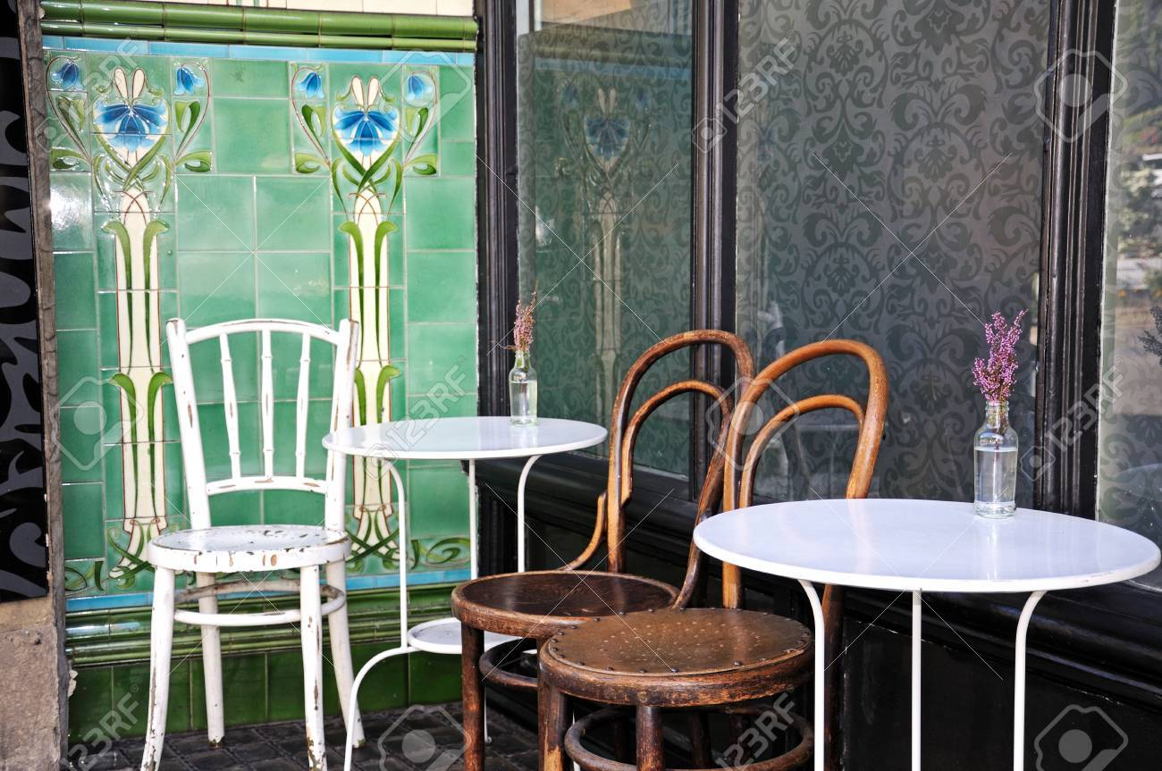 tables and chairs outside a town centre cafe buxton derbyshire