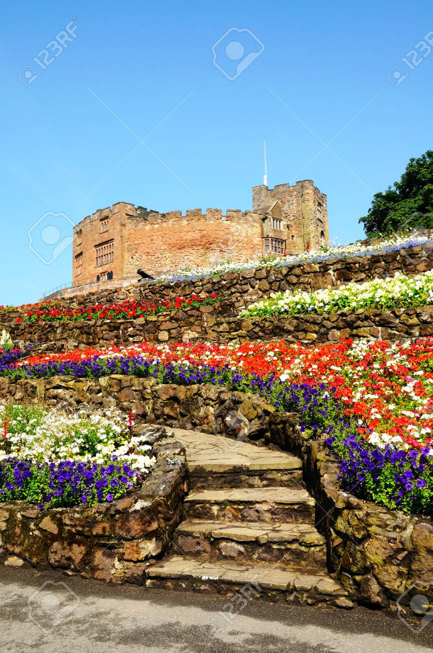 View Of The Castle Gardens With Steps Leading Towards The Norman ...