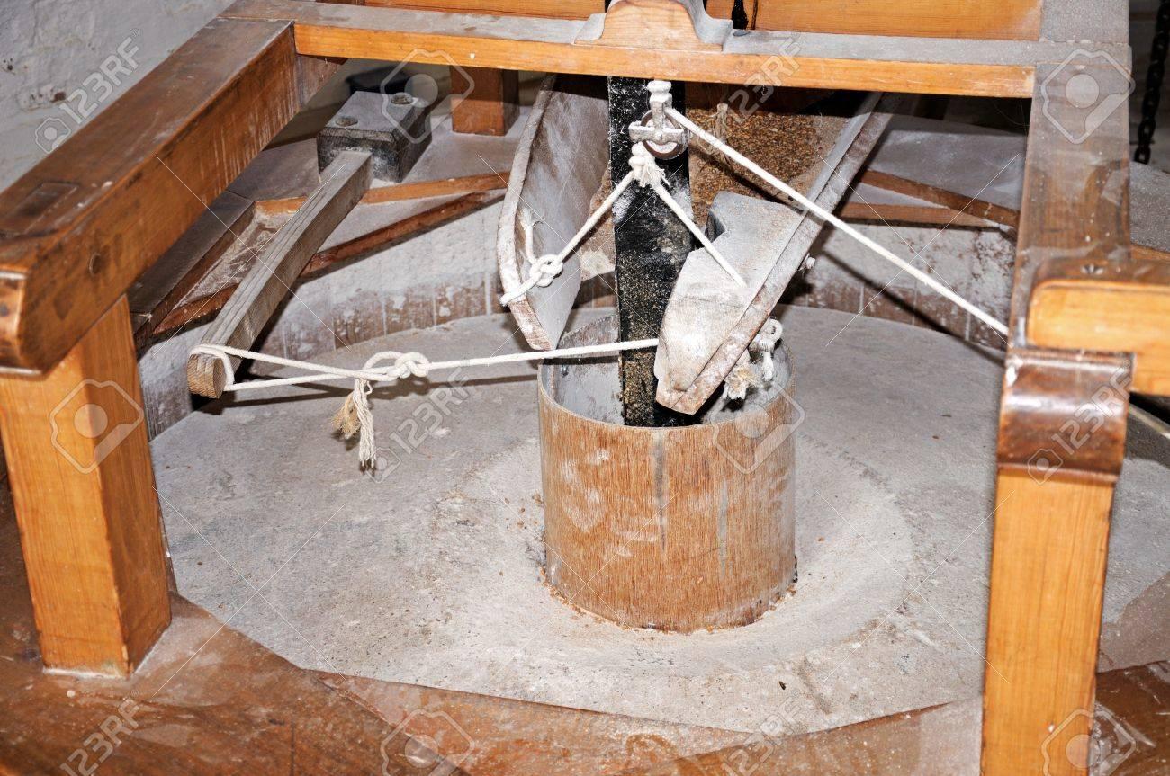 Grinding Wheel Mechanism Inside A Flour Mill Windmill Nottingham Nottinghamshire England UK