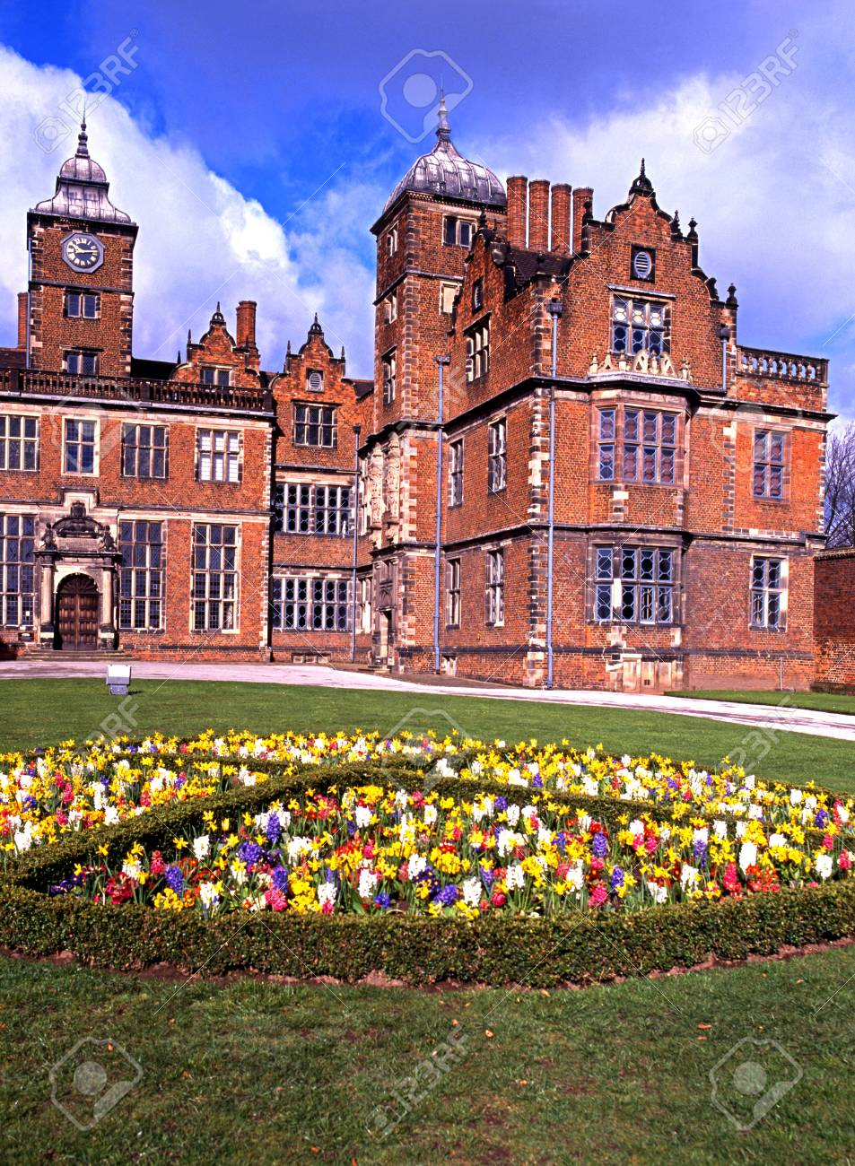 View Of Aston Hall With Spring Flowers In The Foreground Aston