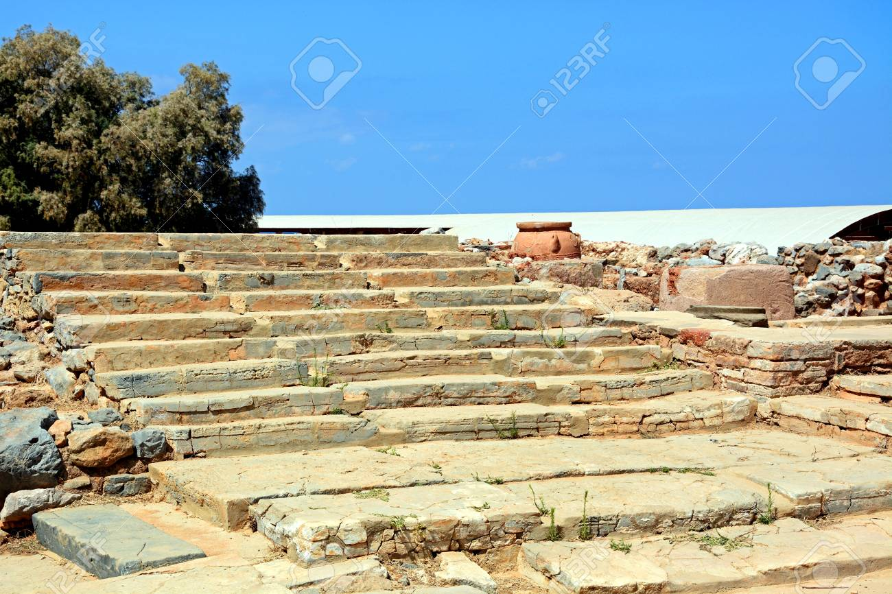 Wide Steps To One Of The Buildings Within The Minoan Malia Ruins ...