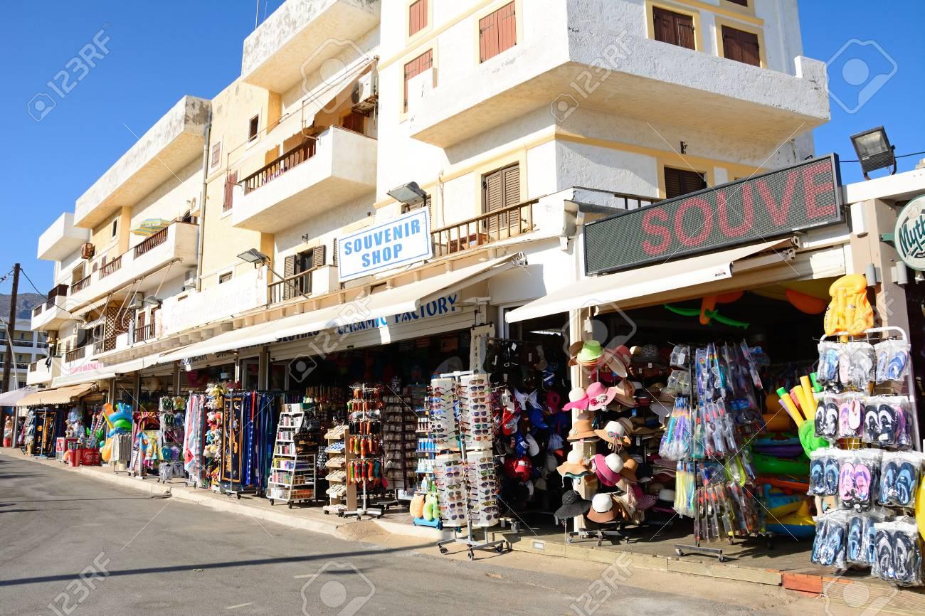 A row of tourist gift shops hersonissos crete greece europe a row of tourist gift shops hersonissos crete greece europe stock negle Images