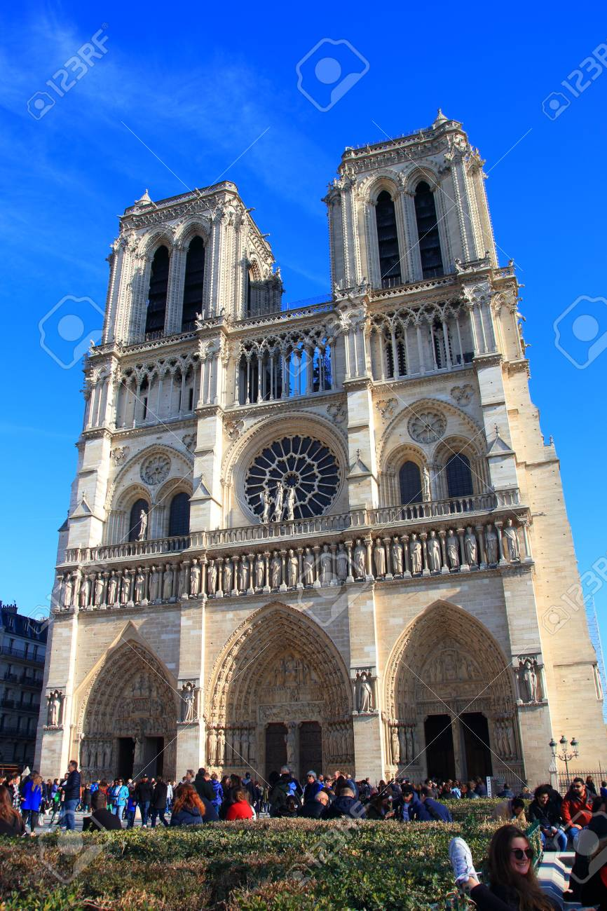 Notre Dame Cathedral in Paris and visiting tourists , France - 122540125