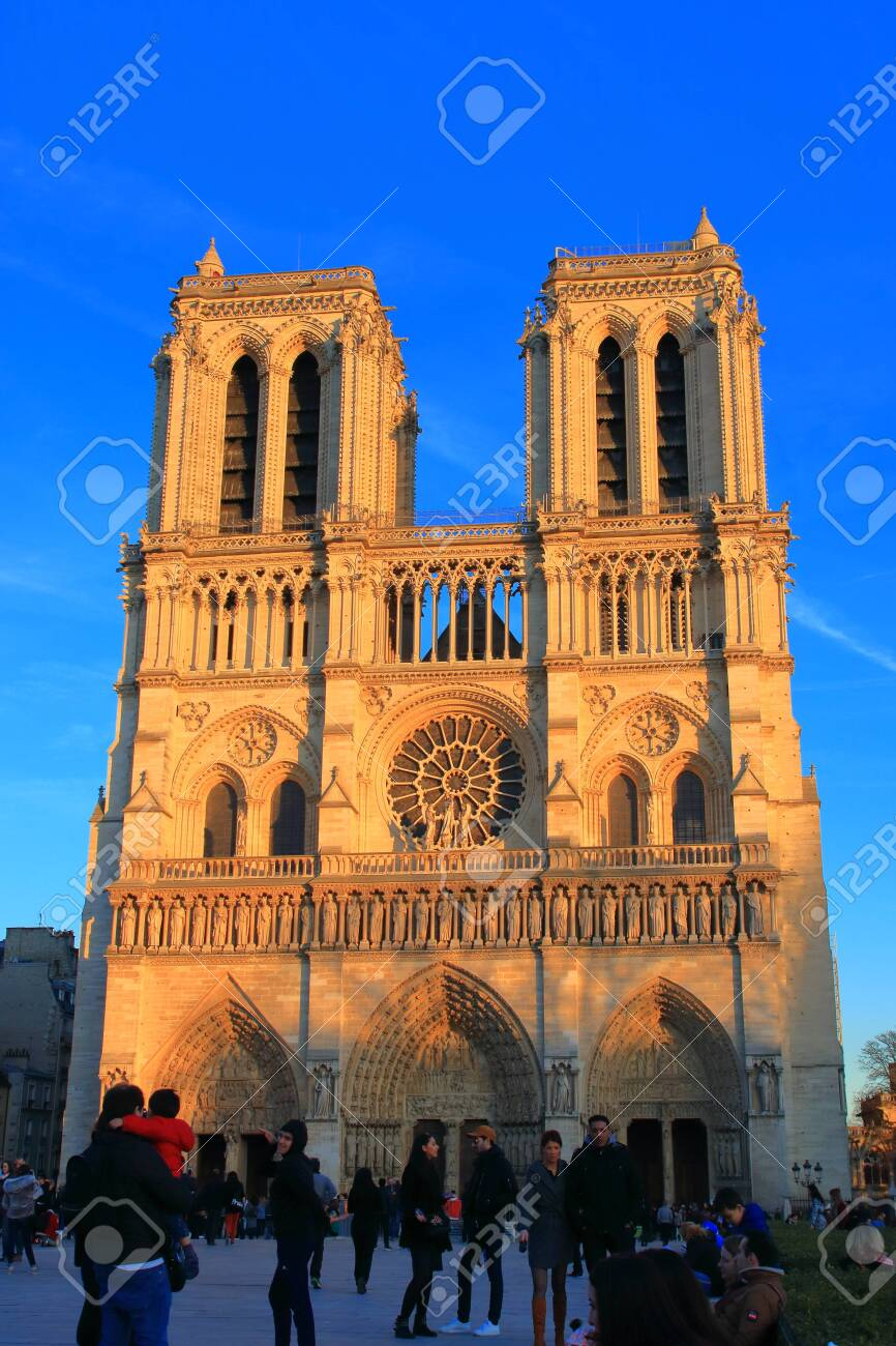 Notre Dame Cathedral in Paris and visiting tourists , France - 122540124