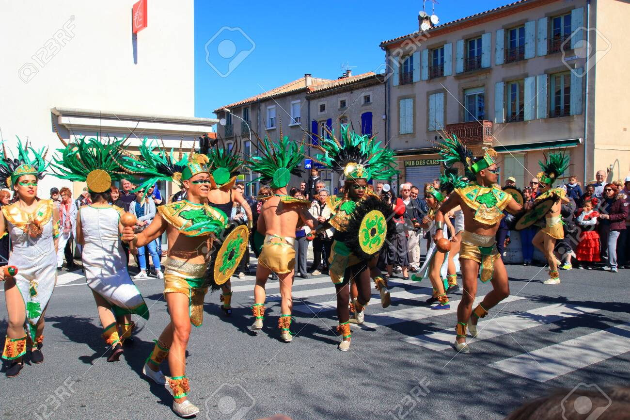 Mexican dancers disguised as Indian at the carnival of Limoux in the Aude, Languedoc in the south of France - 143985305