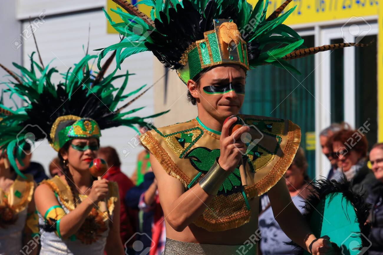 Mexican dancers disguised as Indian at the carnival of Limoux in the Aude, Languedoc in the south of France - 143985306