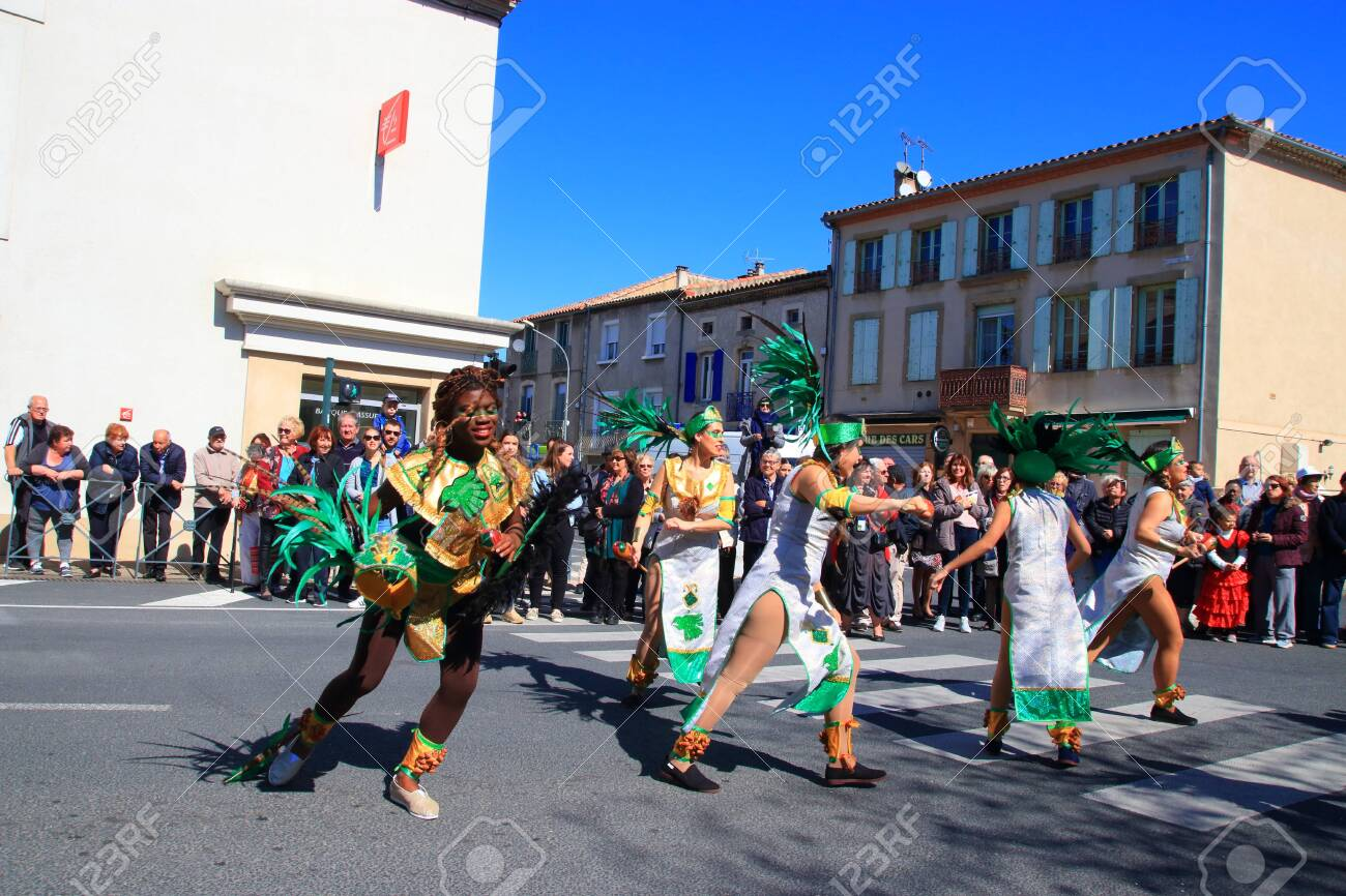 Mexican dancers disguised as Indian at the carnival of Limoux in the Aude, Languedoc in the south of France - 143985293