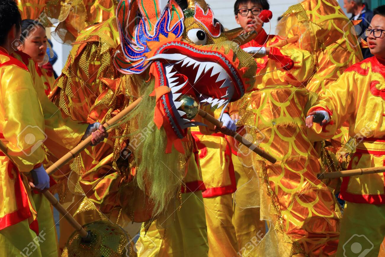 Asian parade with a dragon at the Limoux carnival in Aude, Occitanie in the south of France - 143985294