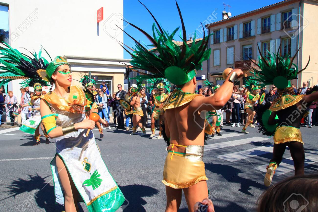 Mexican dancers disguised as Indian at the carnival of Limoux in the Aude, Languedoc in the south of France - 143985300