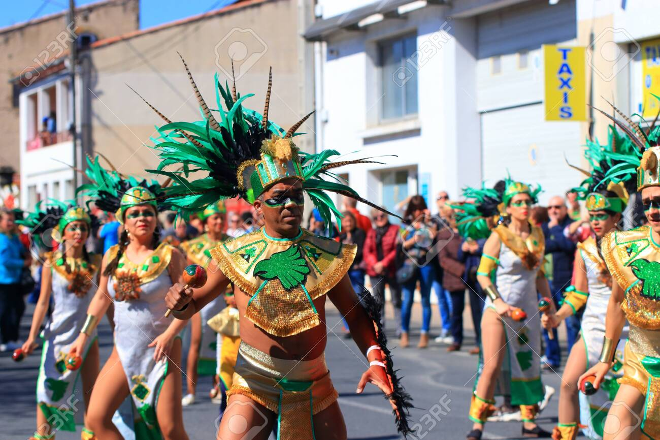 Mexican dancers disguised as Indian at the carnival of Limoux in the Aude, Languedoc in the south of France - 143985312