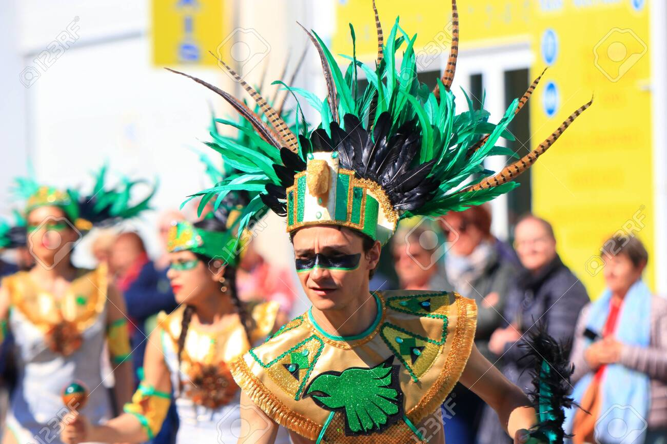 Mexican dancers disguised as Indian at the carnival of Limoux in the Aude, Languedoc in the south of France - 143985315