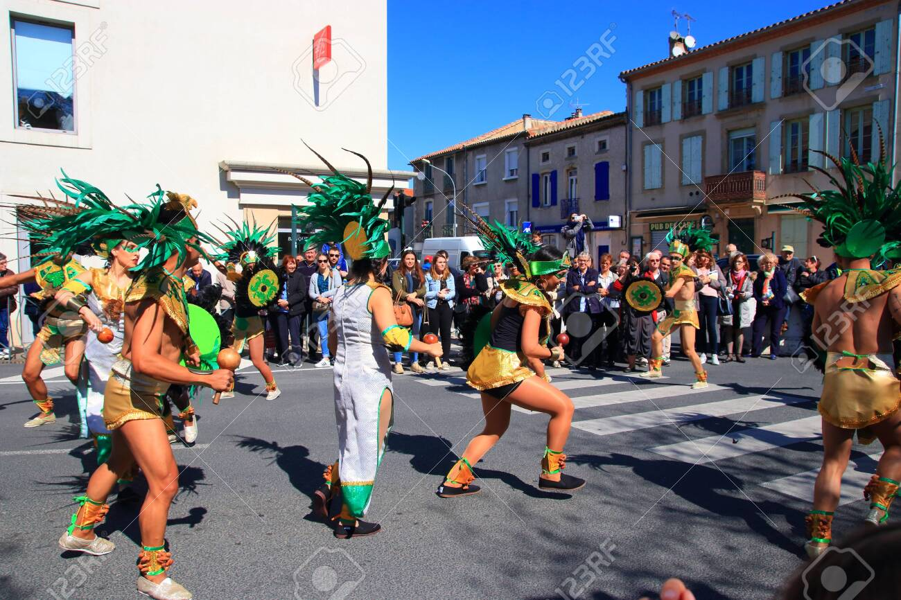 Mexican dancers disguised as Indian at the carnival of Limoux in the Aude, Languedoc in the south of France - 143985317