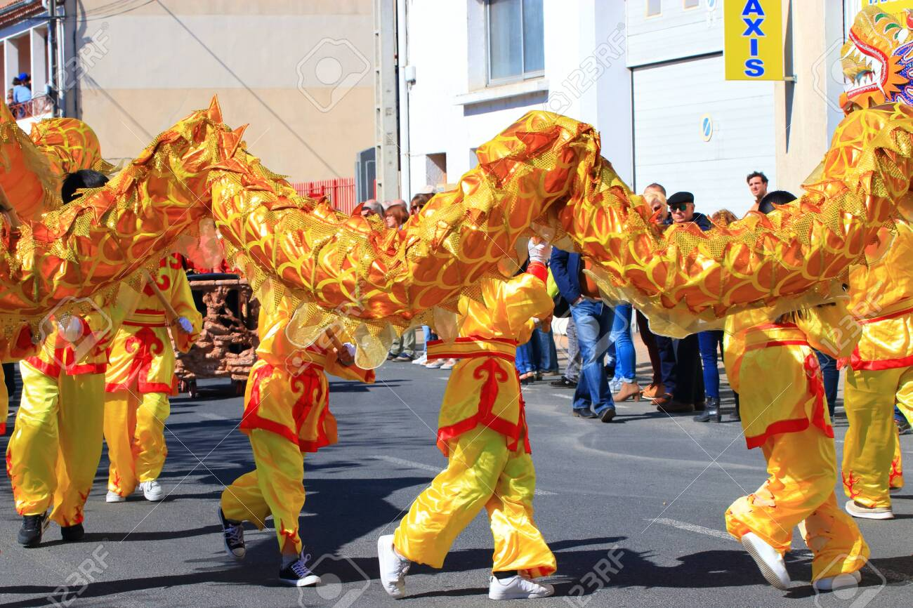 Asian parade with a dragon at the Limoux carnival in Aude, Occitanie in the south of France - 143985310