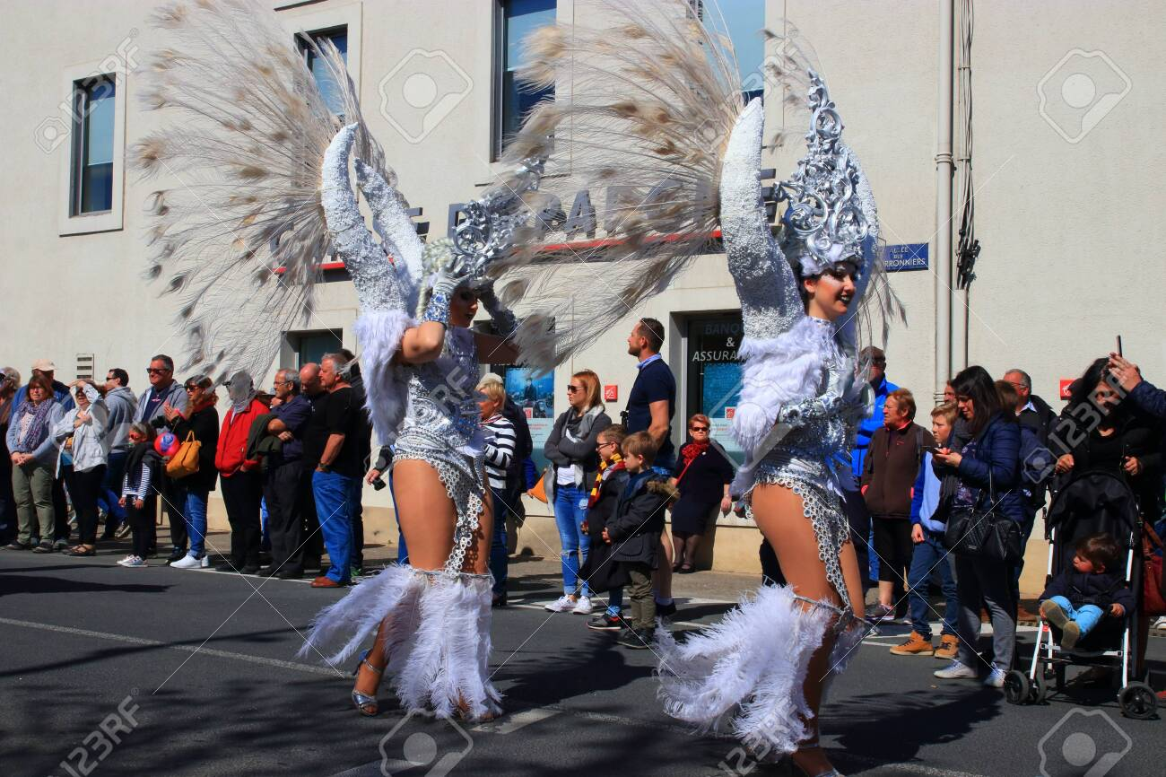 Angels parade at the french carnival of Limoux in Aude, Occitania in the southern of France - 143985482