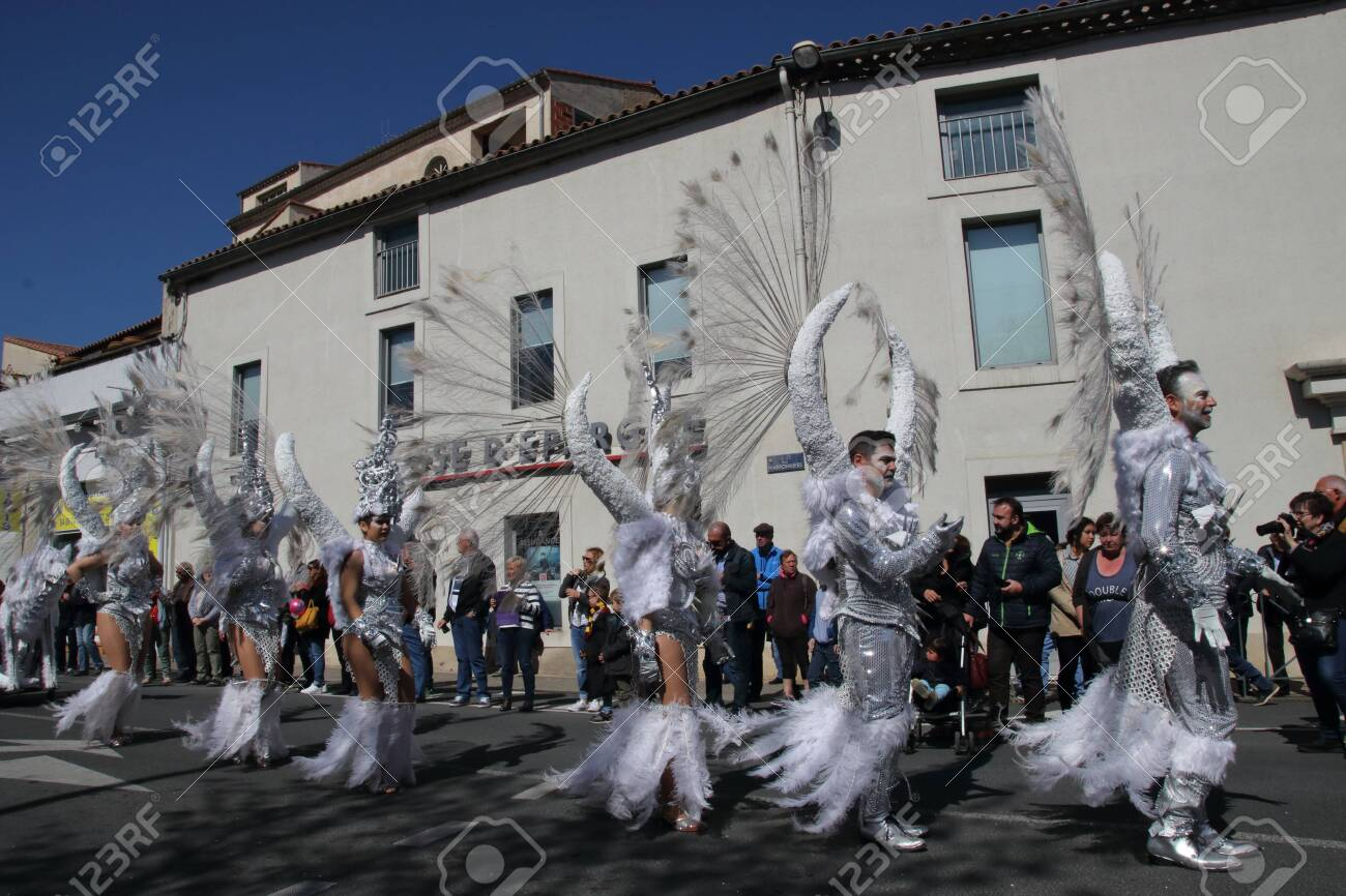Angels parade at the french carnival of Limoux in Aude, Occitania in the southern of France - 143985484