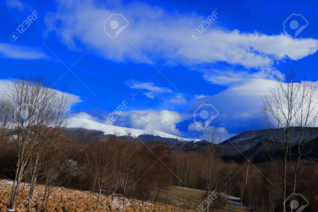 Pyrenean landscape in Aude , Occitanie in the southern of France - 132389152