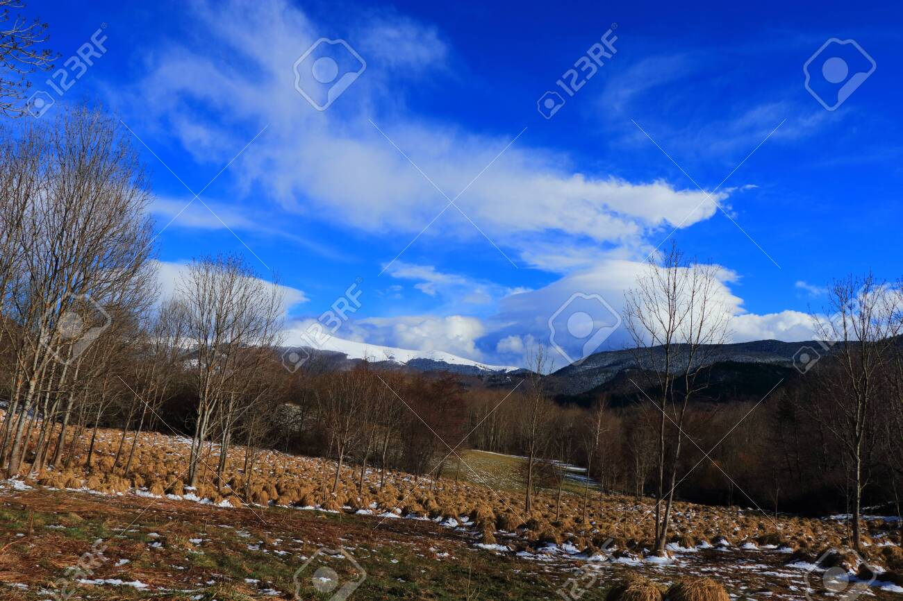 Pyrenean landscape in Aude , Occitanie in the southern of France - 132389159