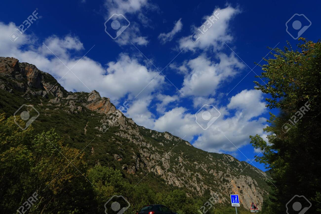Pyrenean landscape in Aude , Occitanie in the southern of France - 132389234