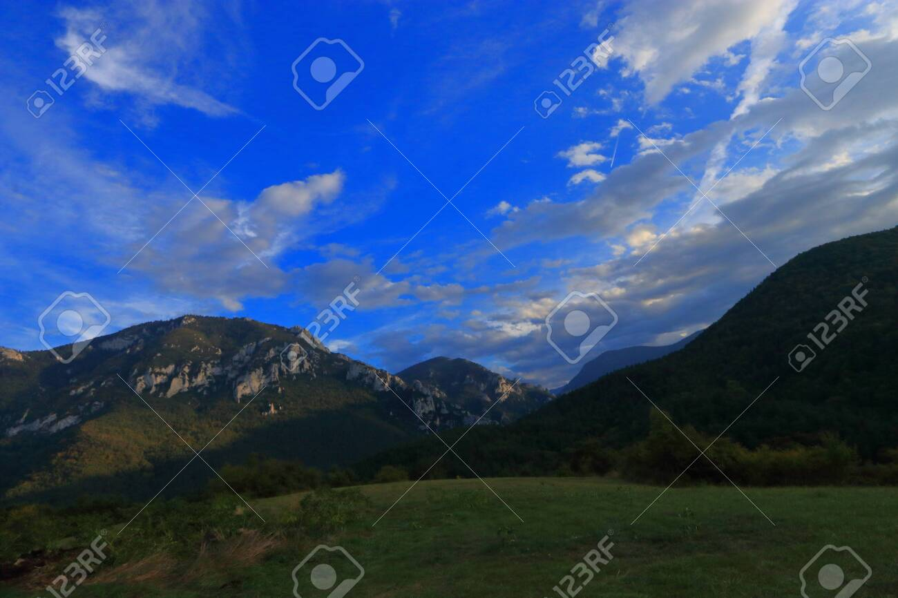 Pyrenean landscape in Aude , Occitanie in the southern of France - 132389235