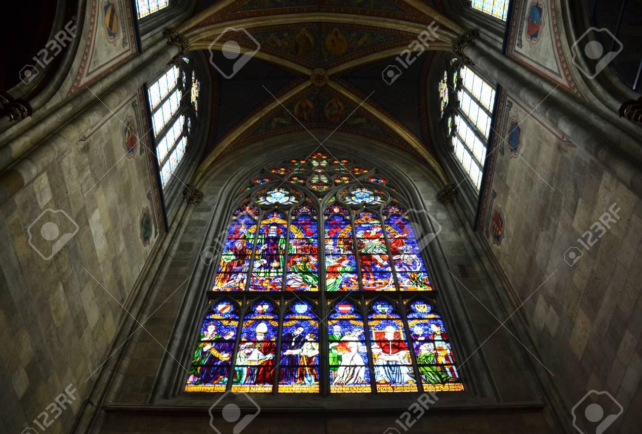 Gothic Stained Glass Window In Votive Church Vienna Stock Photo