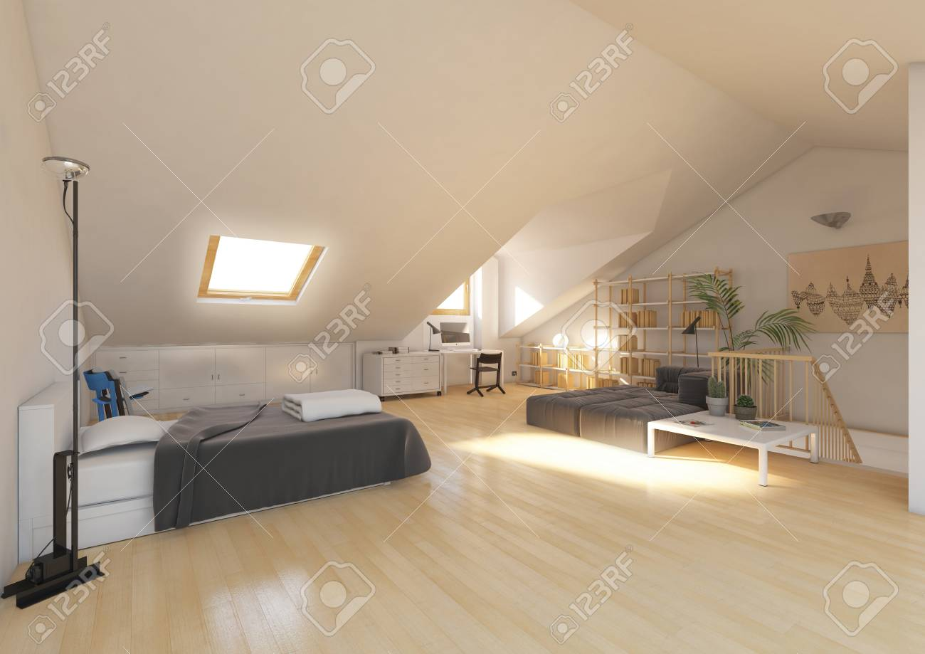 3d Rendering Interior Bedroom Under Roof Stock Photo Picture And Royalty Free Image Image 73411457