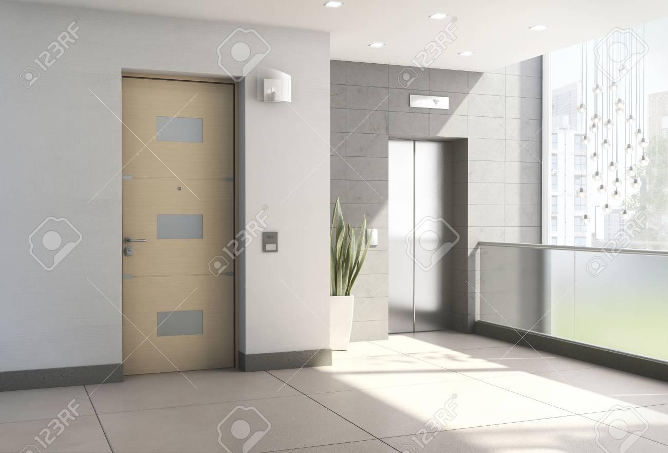 Intérieur 3D du hall d\'entrée moderne avec ascenseur rendu 3d.