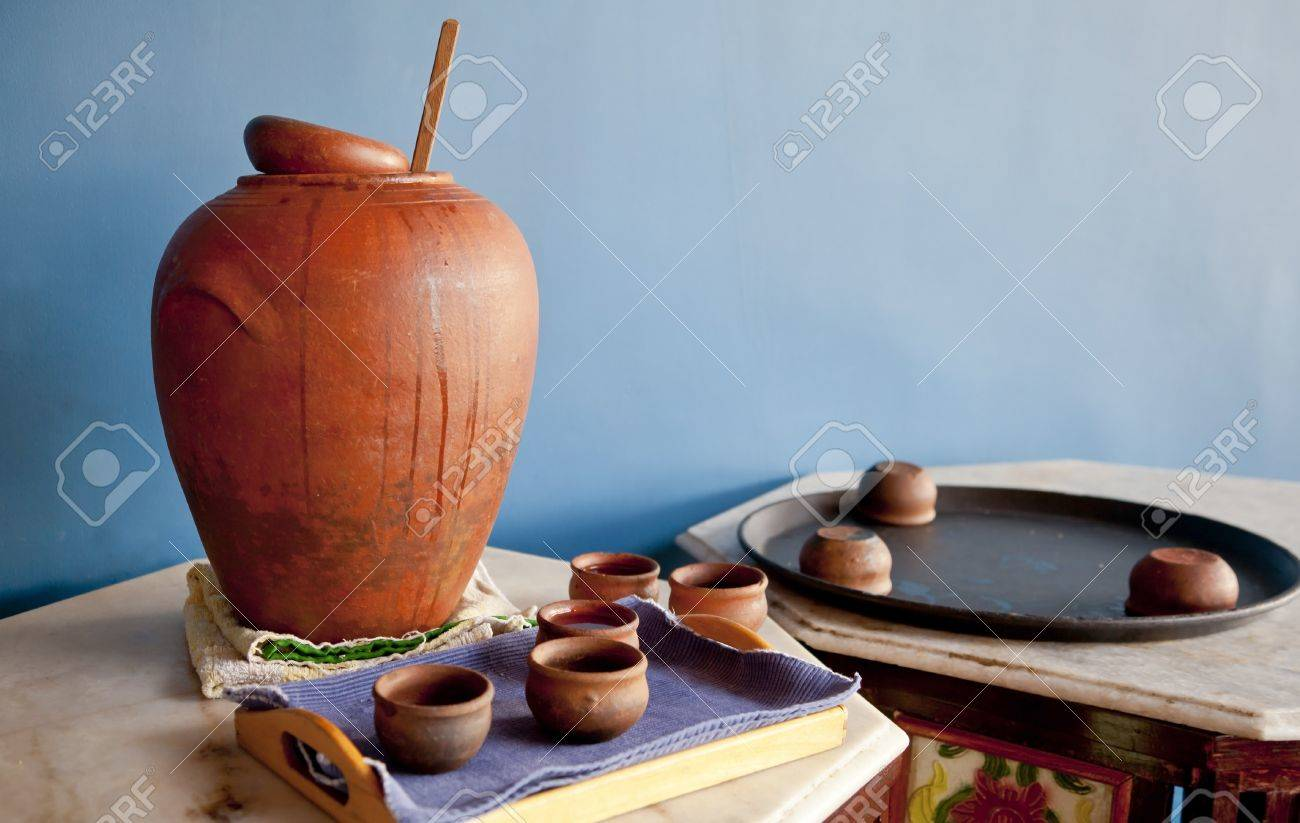Color capture of a display of indigenous crafted clay eartherware by unknown artist on a table top display at Pondicherry, Tamil Nadu India Stock Photo - 20480614