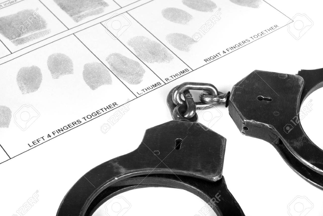 Handcuff and fingerprint Stock Photo - 14890188