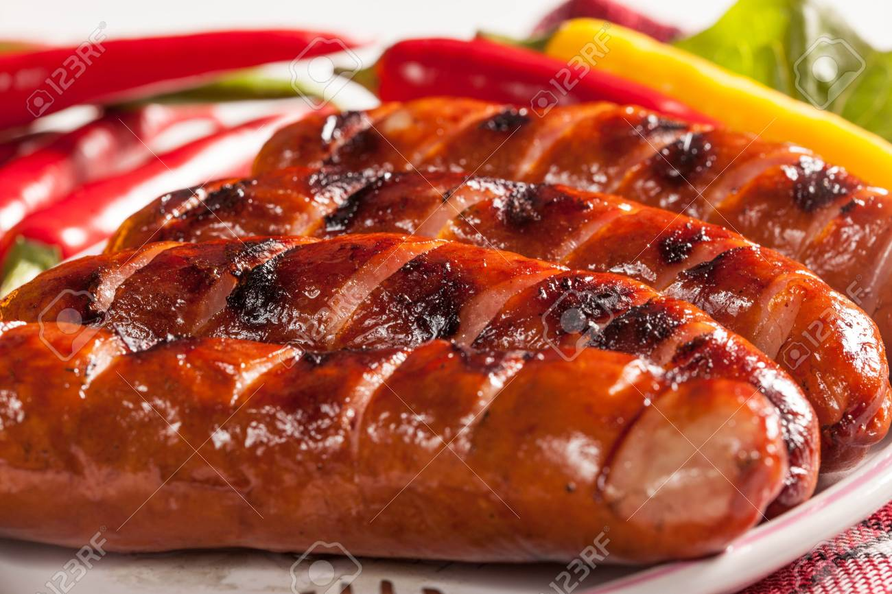Grilled sausage on a plate. - 31119328