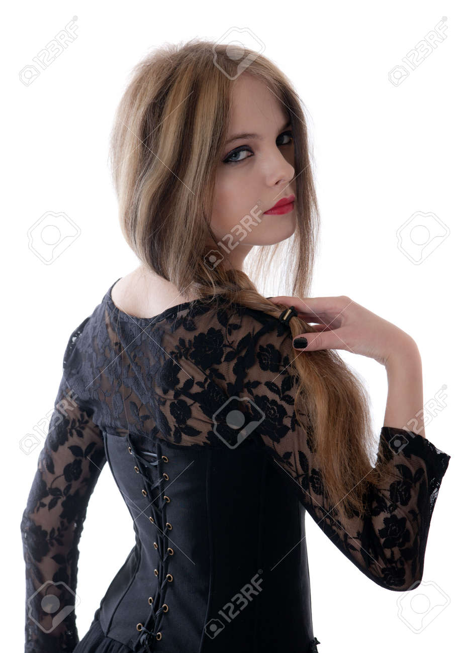 Portrait of the young girl in a black dress Stock Photo - 7936950