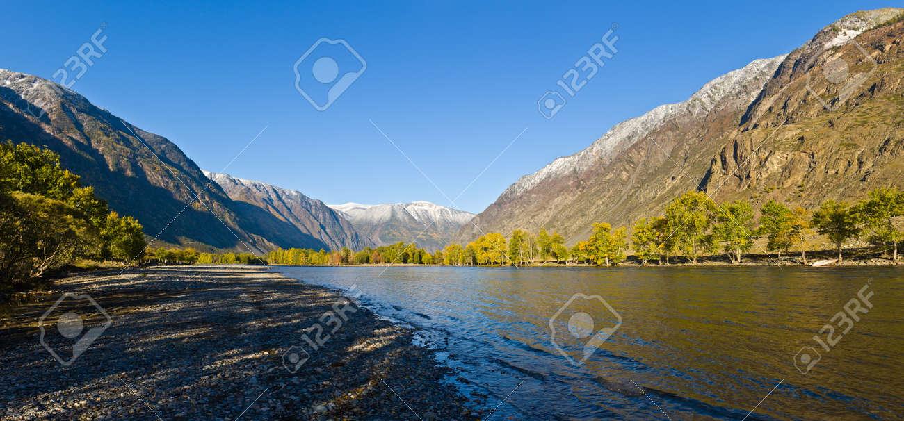 The mountain river Chulyshman on Altai, a panorama - 8566269