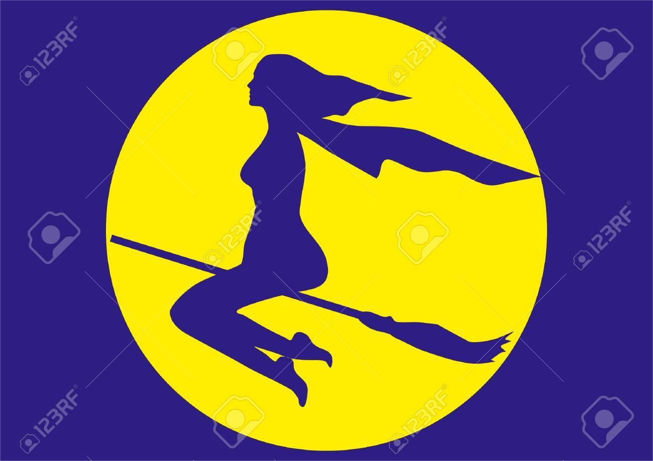 banque dimages silhouette de sorcire sur un balai volant sur un fond moon