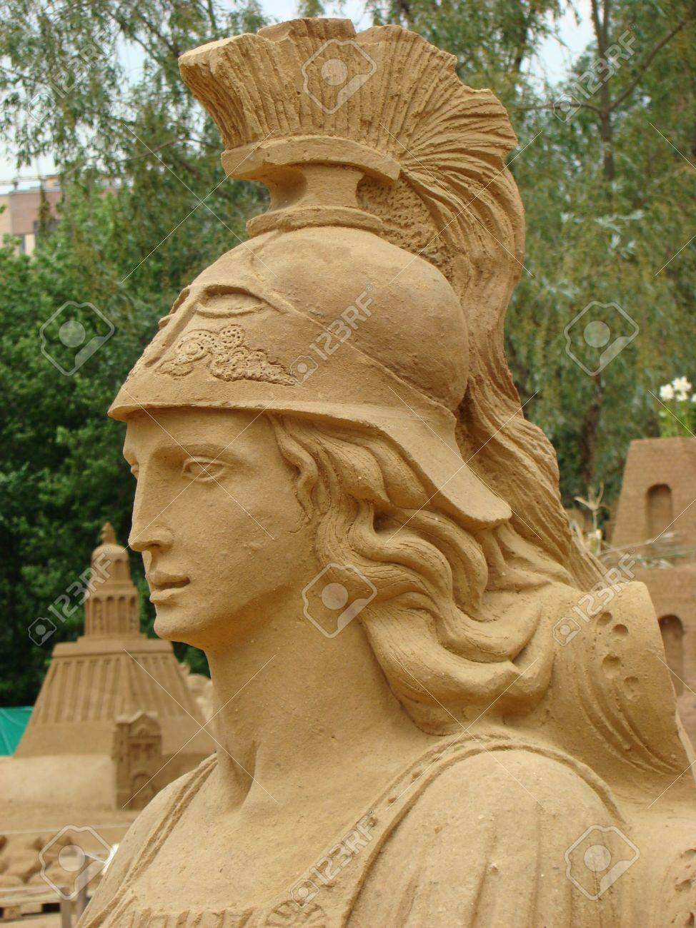 sand figure of athena in ancient greek mythology of the goddess